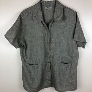 Flax 100% linen short sleeved shirt with pockets L